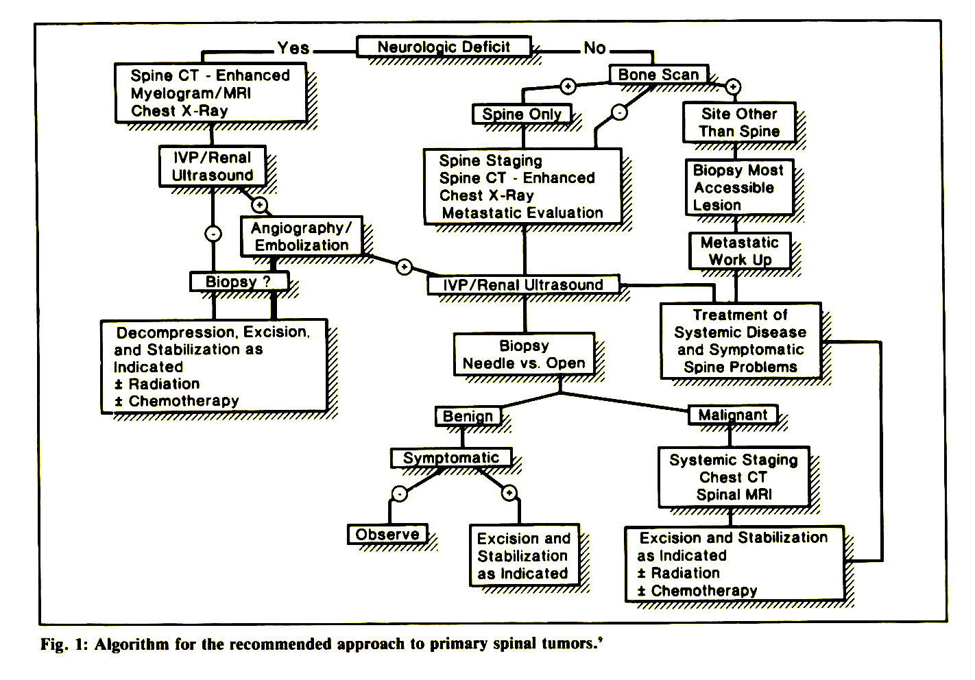 Fig. I: Algorithm for the recommended approach to primary spinal tumors.