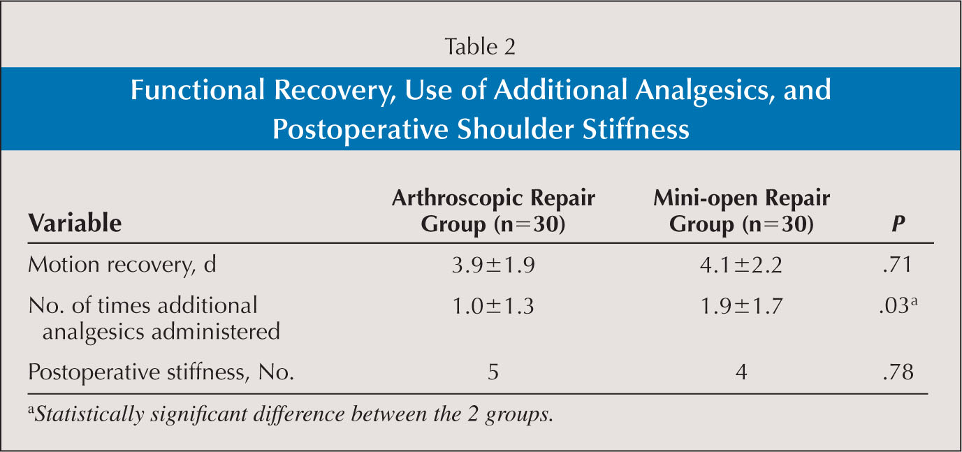 Functional Recovery, Use of Additional Analgesics, and Postoperative Shoulder Stiffness