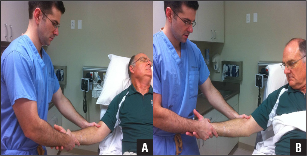 The traditional elbow reduction method uses traction and countertraction with the physician's 2 hands (A). Alternatively, the physician may need additional assistance from another member of the care team to provide countertraction with a hand, towel, or sheet around the patient's torso (B).