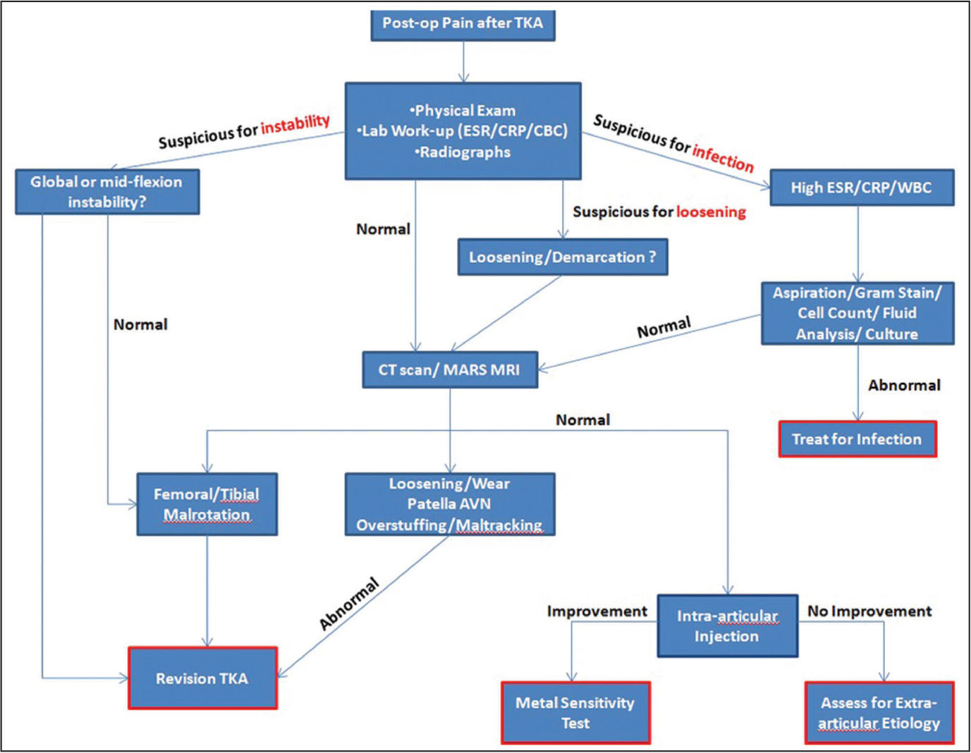 Knee pain diagnosis test - Diagnostic Algorithm For Residual Pain After Total Knee Arthroplasty Tka Abbreviations Avn