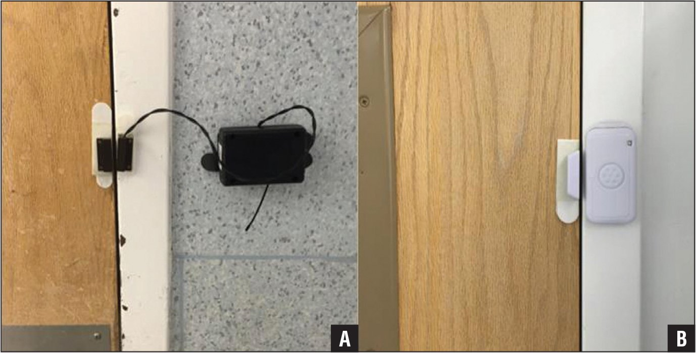 A wireless magnetic door counter (Wireless open-closed sensor; Monnit Corporation, Murray, Utah) was placed on the inner substerile door (A). A battery-powered alarm was placed on the inner substerile door (B).
