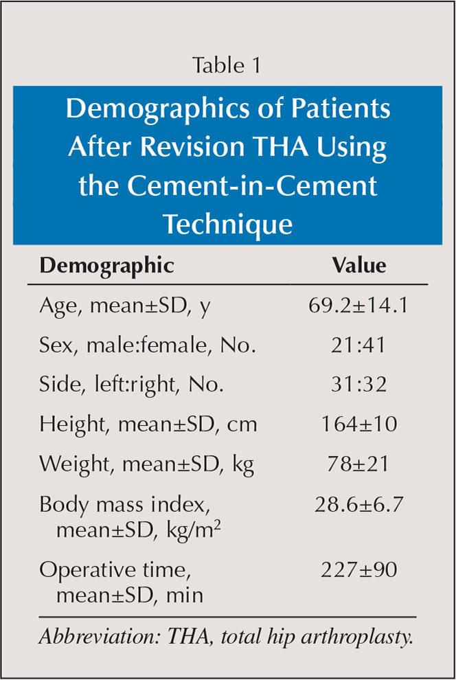 Demographics of Patients After Revision THA Using the Cement-in-Cement Technique