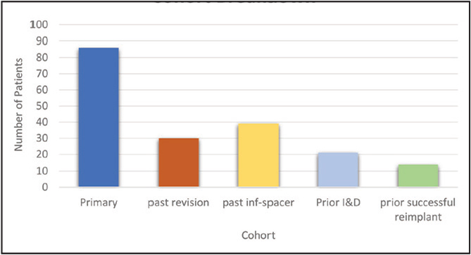 Number of patients in each cohort. Primary and past revision cohorts had no history of infection. Past infection-spacer were patients currently with a spacer being considered for reimplantation. Abbreviations: inf, infection; I&D, irrigation and debridement.