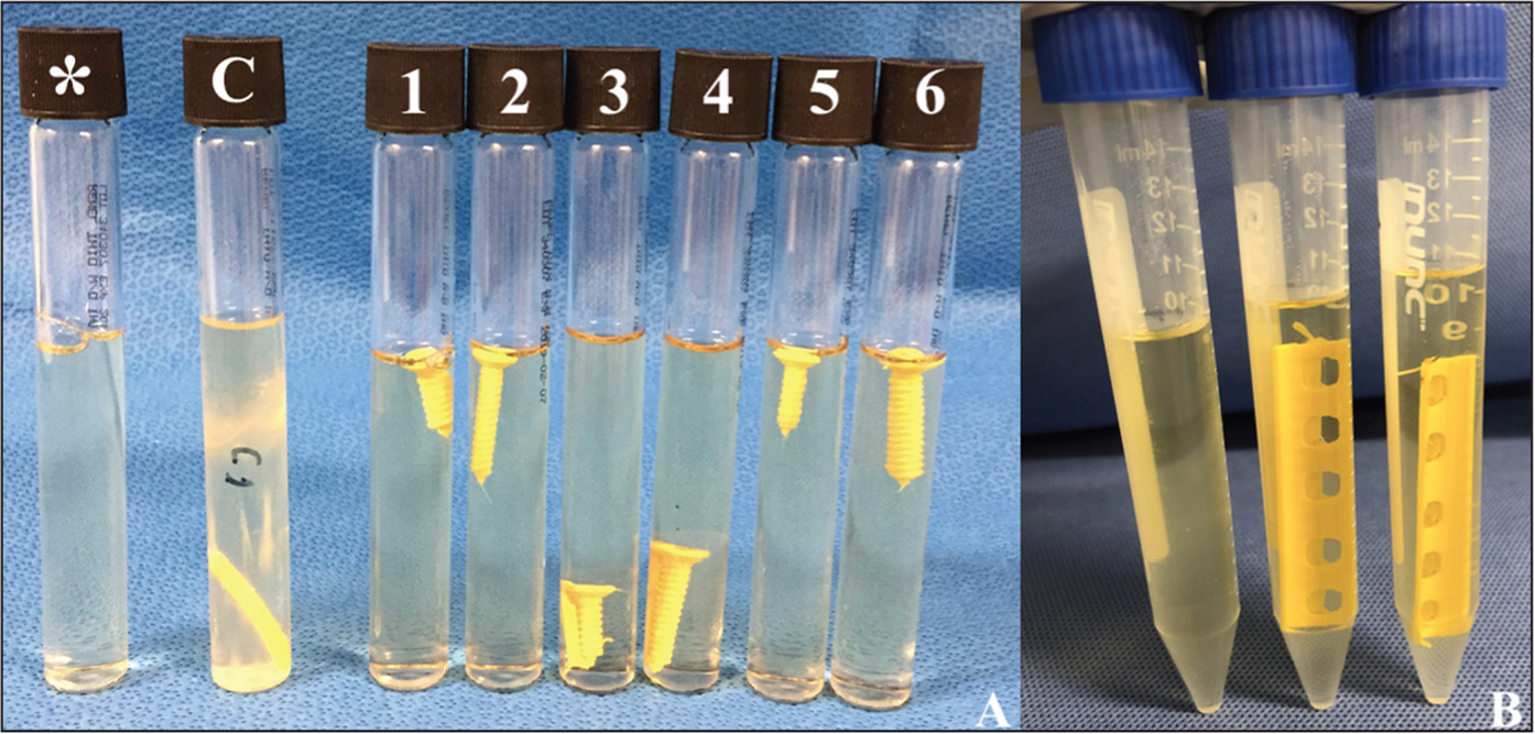 An unopened thioglycollate tube (*) showing no growth, a control tube showing positive growth (C), and samples from study groups 1–6 (numbered) at 1 week showing no growth (A). A sample of 10 mL of thioglycollate broth on the left showing retained sterility after being transferred to a 15-mL conical tube, a sample from study group 7 in the middle, and a sample from study group 8 on the right at 1 week showing no growth (B).