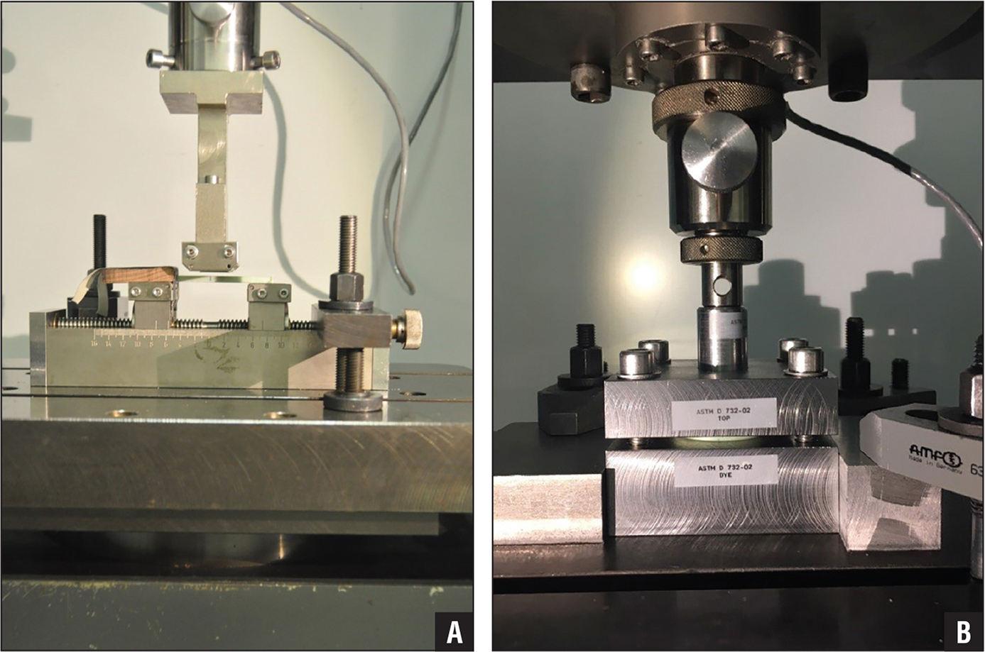 Four-point bending test setup to test bending strength and modulus of the cement–cement interface (A). Shear test setup to test shear strength of the cement–cement interface (B). Both tests were performed with a Universal material testing machine (Zwick 1456; Zwick GmbH).