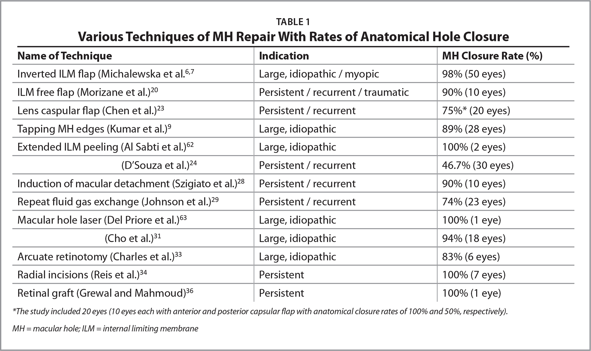 Various Techniques of MH Repair With Rates of Anatomical Hole Closure