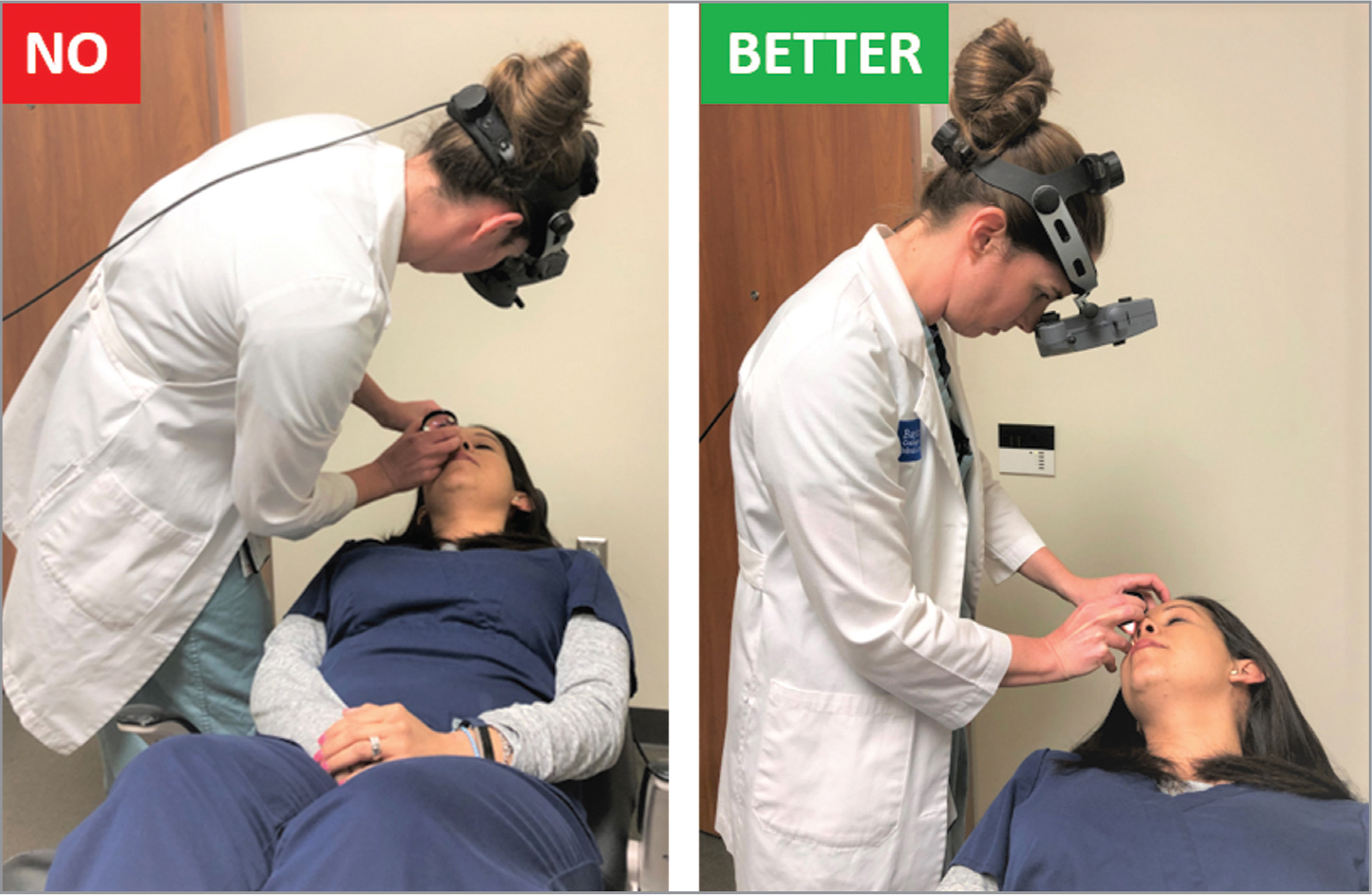 Left: The patient's head is in a neutral position and the chair is too low, causing the physician to contort her back and neck in an unnatural way while viewing the temporal periphery of the patient's right eye. Right: Raising the chair to an appropriate height and rotating the patient's head 30° allows facilitates a more ergonomic stance.