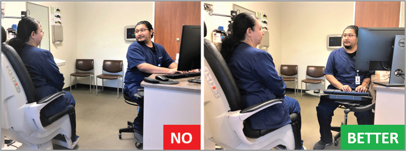 Left: The position of the computer relative to the patient is inducing a severe head turn, causing strain on the neck, back, and upper limbs. Right: Moving the computer and rotating the patient's chair allows the provider to face the patient more comfortably.