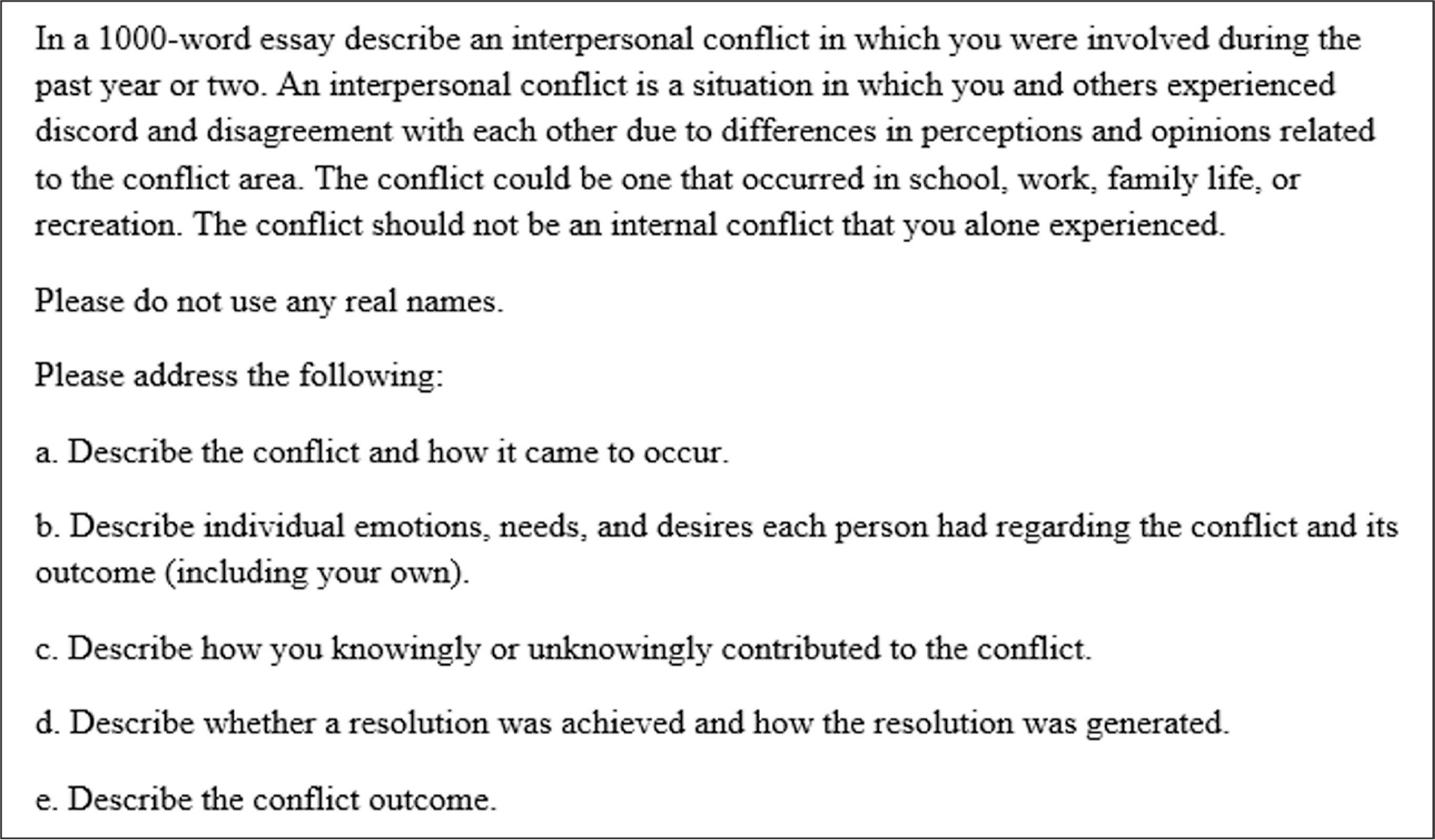 Instructions for the Emotional Intelligence Admission Essay.
