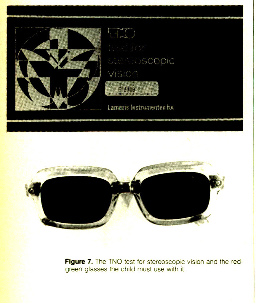 Figure 7. The TNO test for stereoscopic vision and the redgreen glasses the child must use with it.