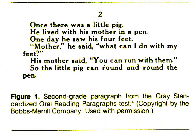 Figure 1. Second-grade paragraph from the Gray Standardized Oral Reading Paragraphs test.4 (Copyright by the Bobbs-Merrill Company. Used with permission.)