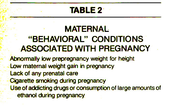 "TABLE 2MATERNAL ""BEHAVIORAL"" CONDITIONS ASSOCIATED WITH PREGNANCY"