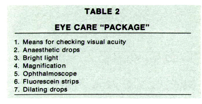 """TABLE 2EYE CARE """"PACKAGE"""""""