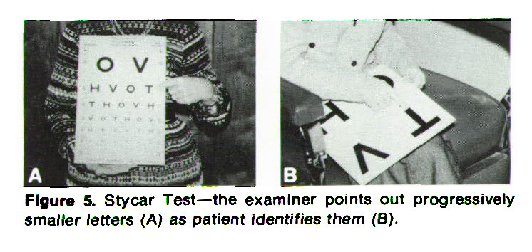 Figure 5. Stycar Test- the examiner points out progressively smaller letters (A) as patient identifies them (B).