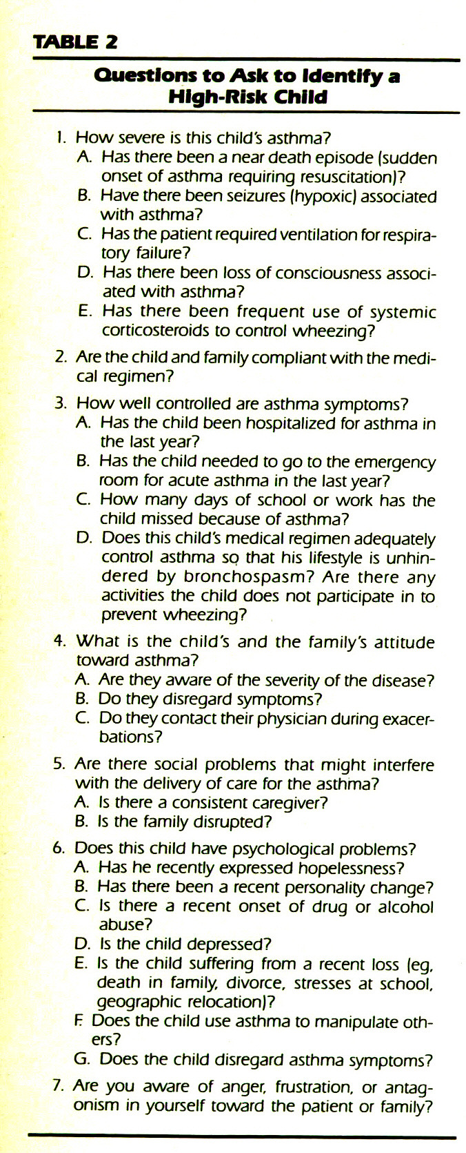 TABLE 2Questions to Ask to Identify a High-Risk Child