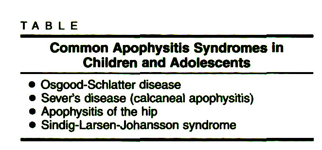 TABLECommon Apophysitis Syndromes In Children and Adolescents