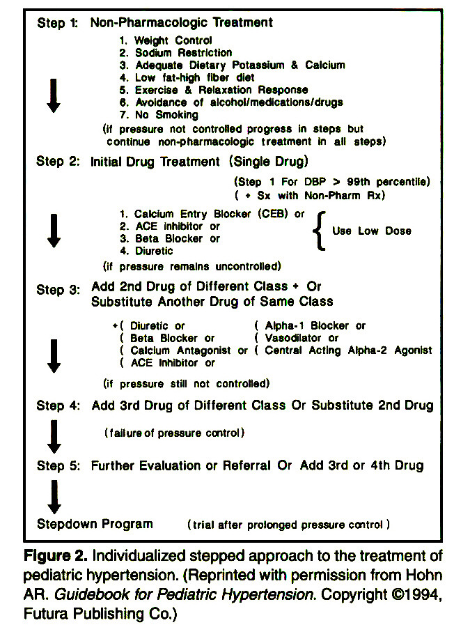 Figure 2. Individualized stepped approach to the treatment of pediatrie hypertension. (Reprinted with permission from Hohn AR. Guidebook tor Pediatrie Hypertension. Copyright ©1 994, Futura Publishing Co.)