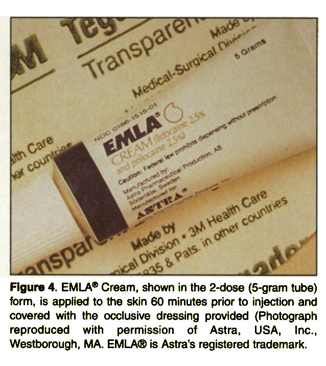 Figure 4. EMLA® Cream, shown in the 2-dose (5-gram tube) form, is applied to the skin 60 minutes prior to injection and covered with the occlusive dressing provided (Photograph reproduced with permission of Astra, USA, Inc., Westborough, MA. EMLA® is Astra's registered trademark.
