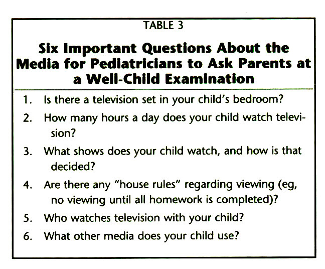 TABLE 3Six Important Questions About the Media for Pediatricians to Ask Parents at a Well-Child Examination