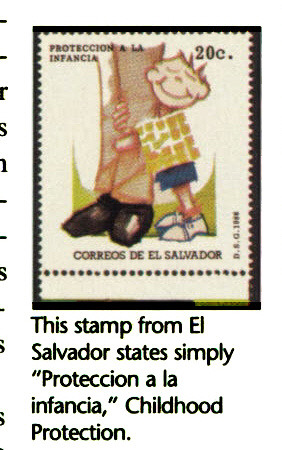 """This stamp from El Salvador states simply """"Proteccion a la infancia,"""" Childhood Protection."""