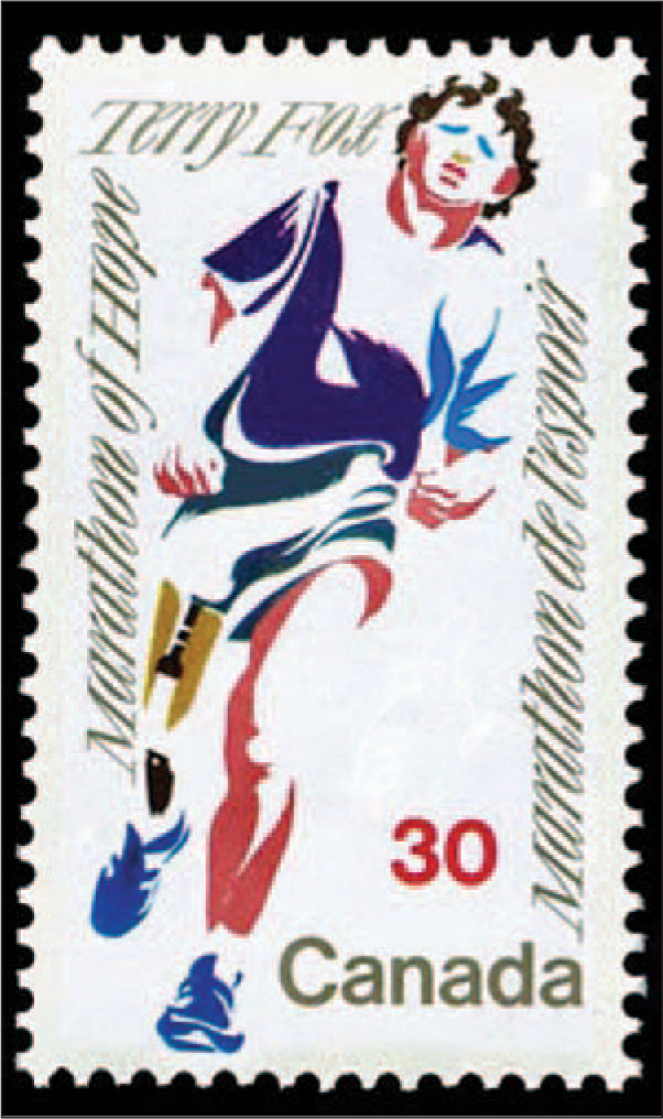 The White 1982 Canadian Stamp Portrays in an Abstract Form a Running Man Who Has a Prosthetic Right Leg.