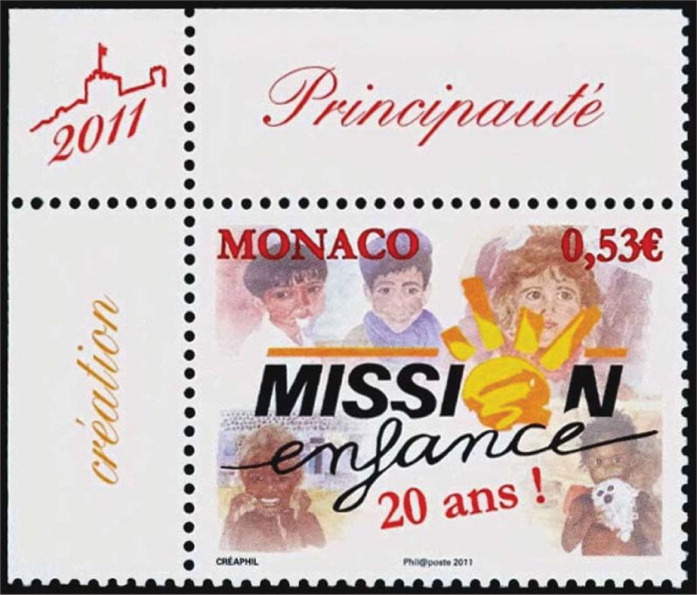 The stamp from Monaco honors the 20th anniversary of Mission Enfance, an organization founded in 1991 to provide education and assistance to needy children in remote areas of the world.