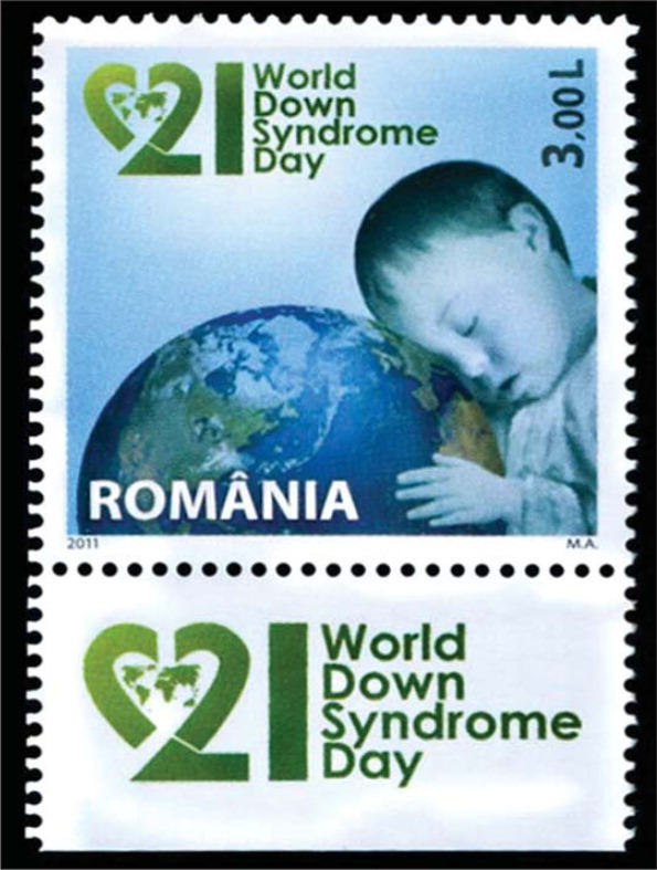 This stamp from Romania honors World Down Syndrome Day.