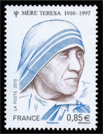 Issued in 2010, This Stamp from France Honors the 100th Anniversary of Mother Teresa's Birth.