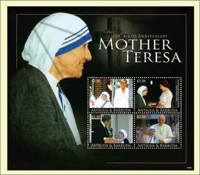 The Larger Souvenir Sheet from the Caribbean Island Nation of Antigua and Barbuda, also Issued in 2010, Depicts Mother Teresa with Princess Diana, Queen Elizabeth, President Ronald Reagan, and Pope John Paul II.