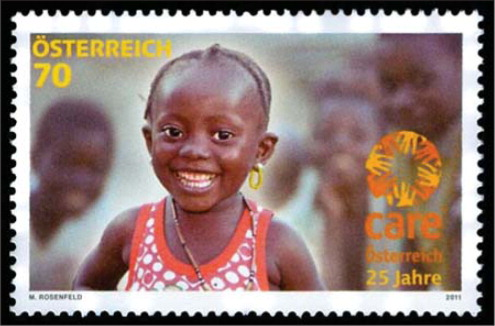 This Austrian stamp honoring CARE Austria (a member of CARE International), a relief and humanitarian organization.