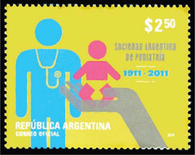Argentinian stamp issued in 2011 to honor the 100th anniversary of the Sociedad Argentina de Pediatria (Argentine Pediatric Society).
