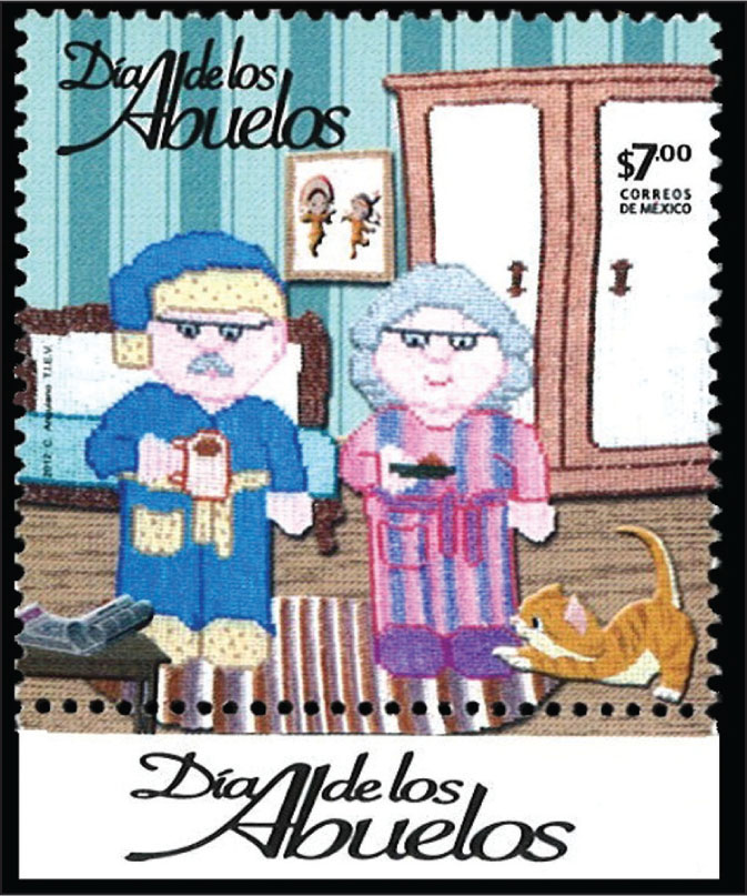 "Mexican stamp celebrates ""Dia de los Abuelos,"" the Day of the Grandparents."