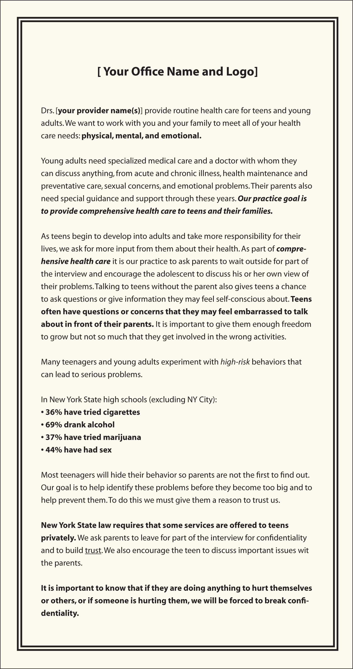 A sample letter to parents regarding adolescent health services offered and confidentiality policy.Image courtesy of Society for Adolescent Health and Medicine3. Reprinted with permission.