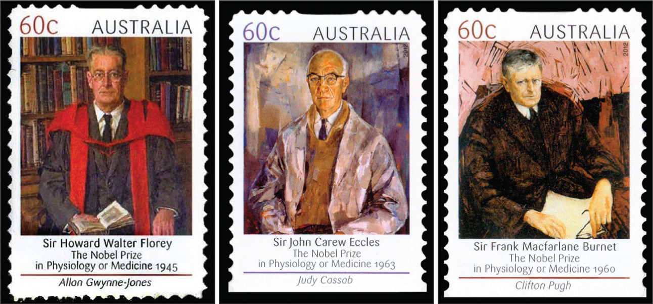 Australian stamps issued in 2012 to honor the its Nobel laurates. Sir Howard Walter Florey, PhD (1898–1968) (left); Sir John Carew Eccles, AC, FRS (1903–1997) (middle); and Sir Frank Macfarlane Burnet, MD, PhD (1899–1985) (right).Images courtesy of Stanford T. Shulman, MD.