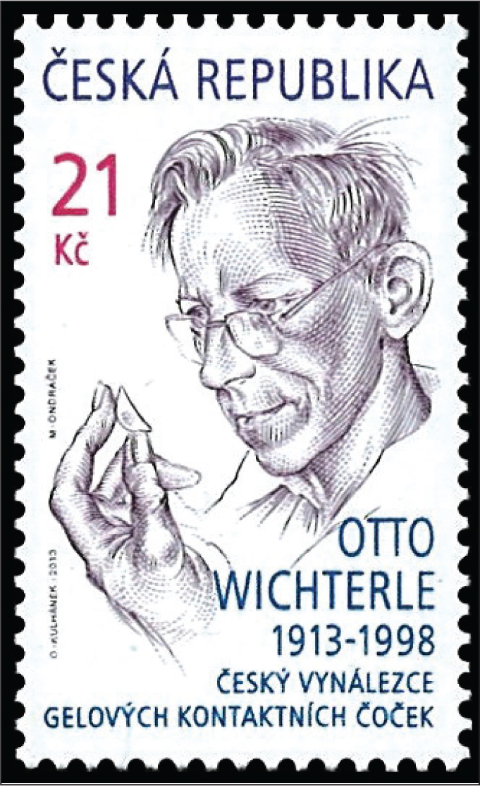 A 2013 stamp of the Czech Republic honors Otto Wichterle (1913–1998), a Czech chemist who invented the soft contact lens.