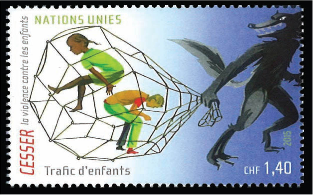 A stamp illustrating child trafficking.