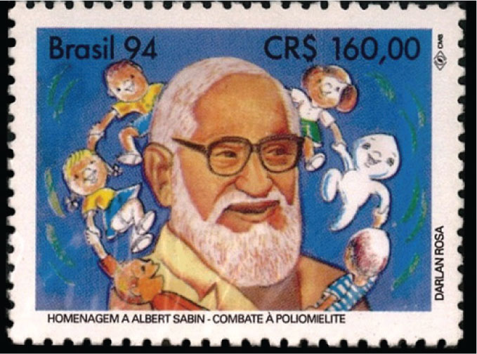 This 1994 Brazilian stamp shows Albert Sabin (1906–1993), who was born in Russia and immigrated to the US with his family.