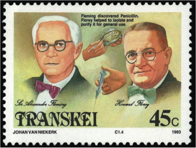 A stamp portraying Alexander Fleming and Howard Florey.