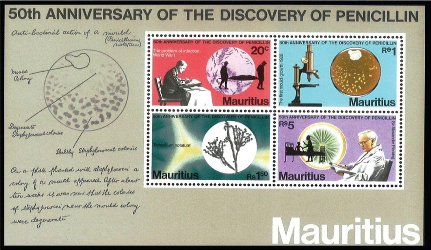 A souvenir sheet issued in 1978 by Mauritius celebrating the 50th anniversary of Sir Alexander Fleming's discovery of penicillin.