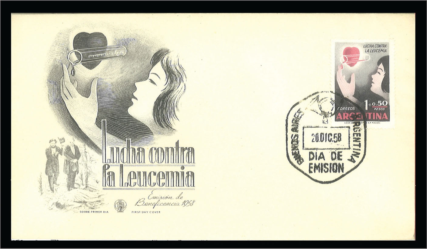 "This 1958 Argentinian First Day of Issue cover celebrates ""Lucha contra la Leucemia,"" the fight against leukemia."