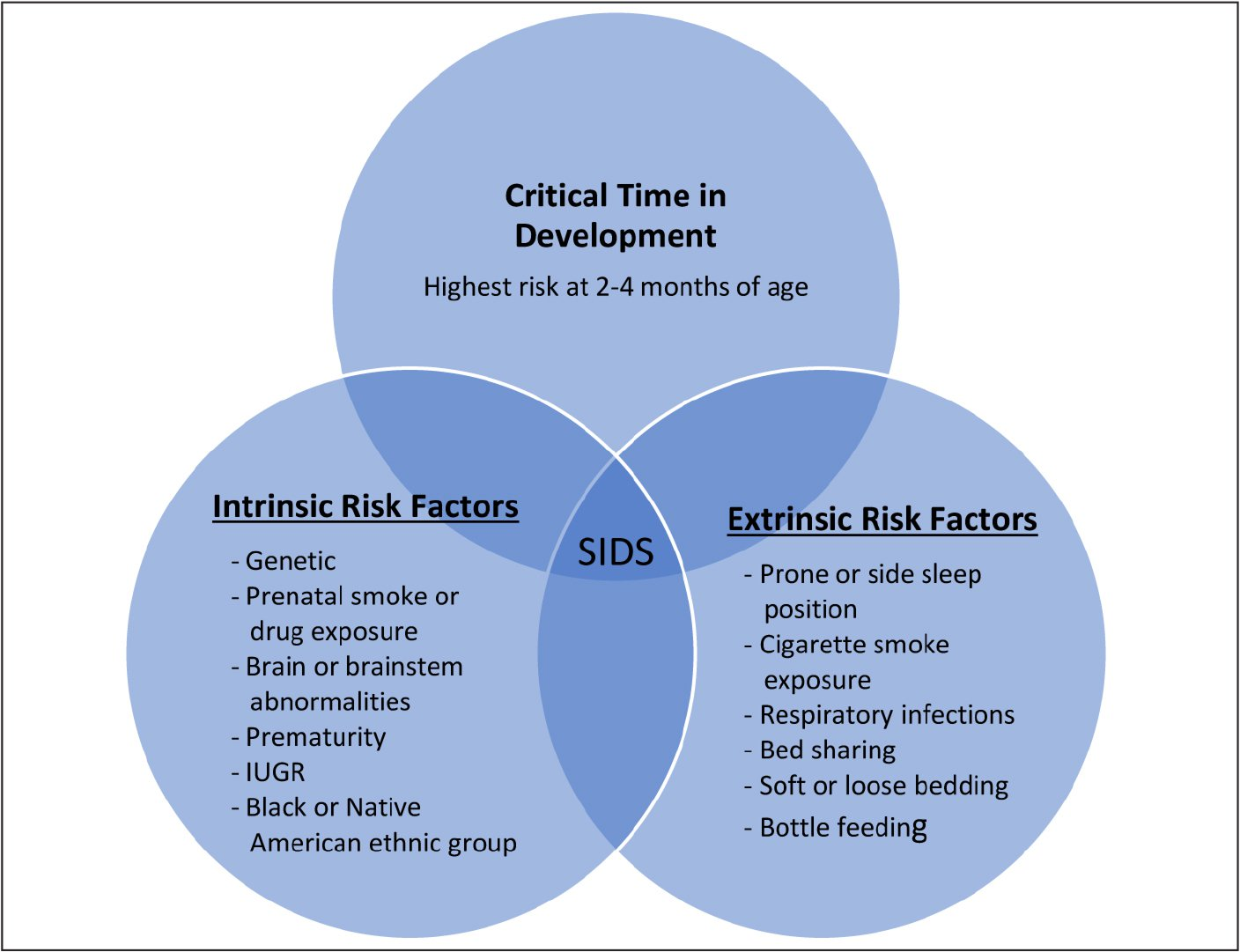 Triple-risk model for sudden infant death syndrome. IUGR, intrauterine growth restricted; SIDS, sudden infant death syndrome. Adapted from Filiano and Kinney.5