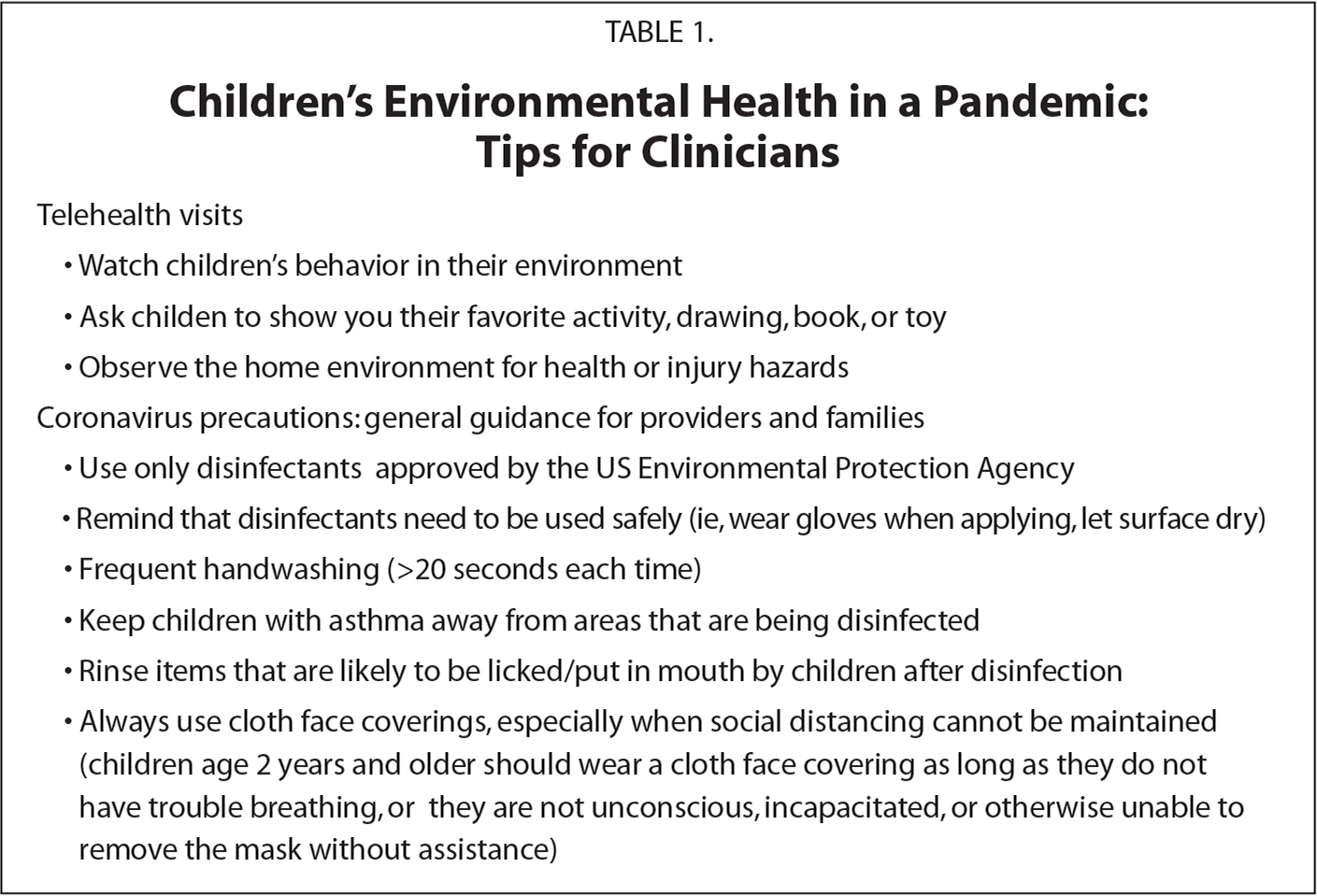 Children's Environmental Health in a Pandemic: Tips for Clinicians