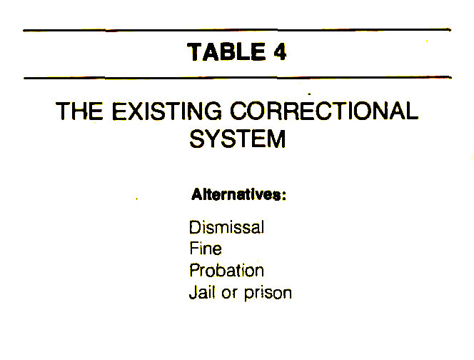 TABLE 4THE EXISTING CORRECTIONAL SYSTEM
