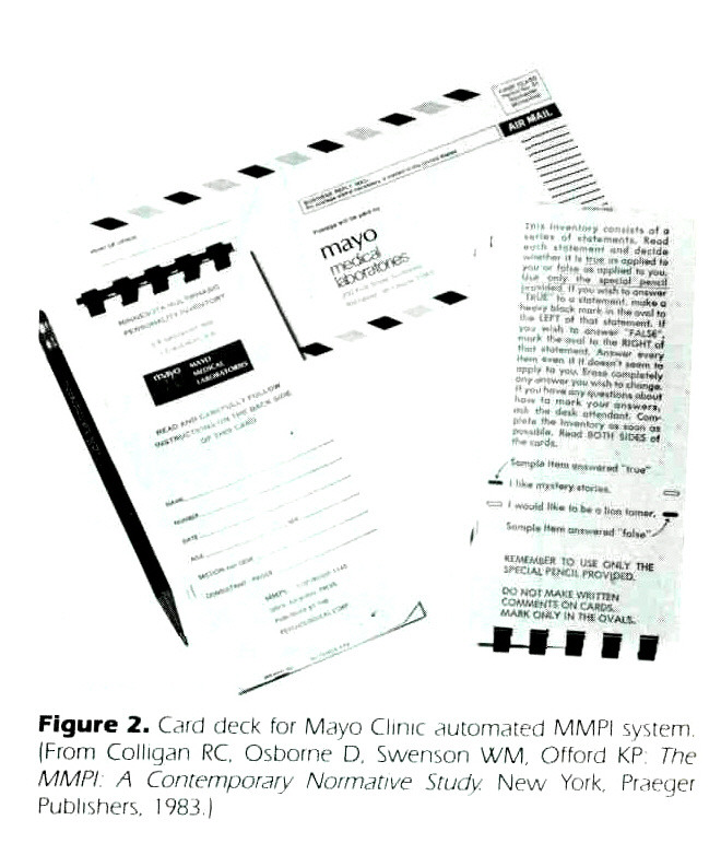 Figure 2. Card deck for Mayo Clinic automated MMPI system. (From Colligan RC, Osborne D, Swenson WM, Offord KP The MMPIA Contemporary Normative Study. New York. Praeger Publishers, 1983.)
