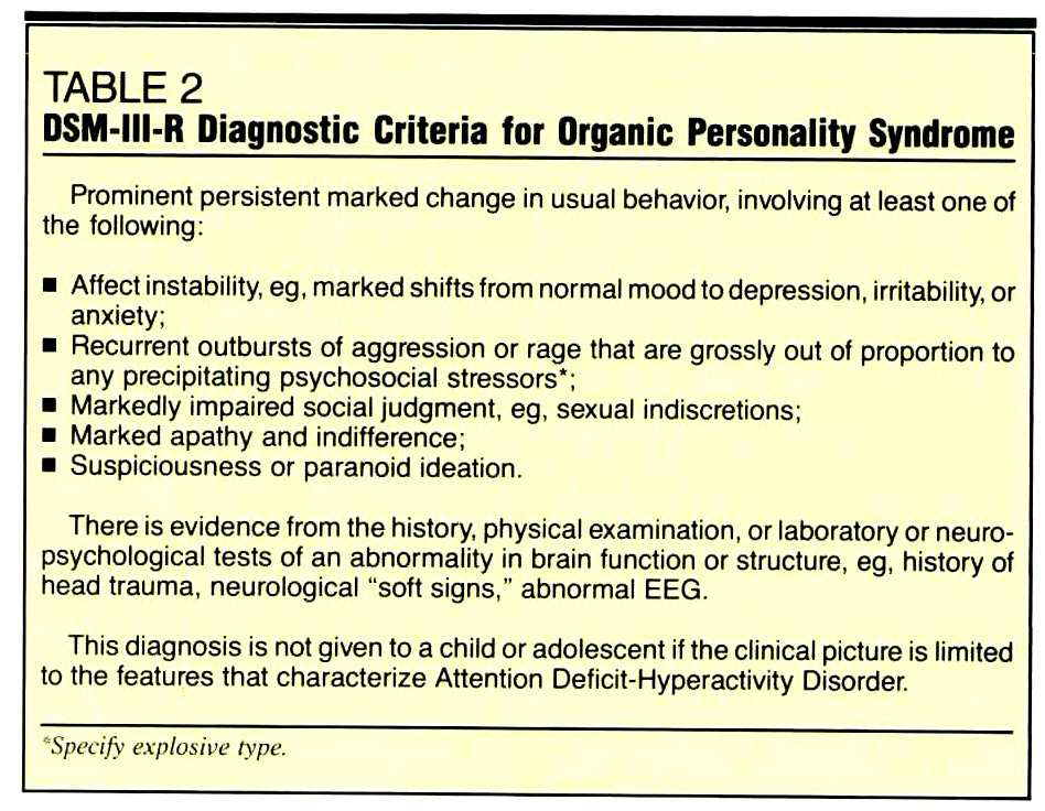 TABLE 2DSM-III-R Diagnostic Criteria for Organic Personality Syndrome