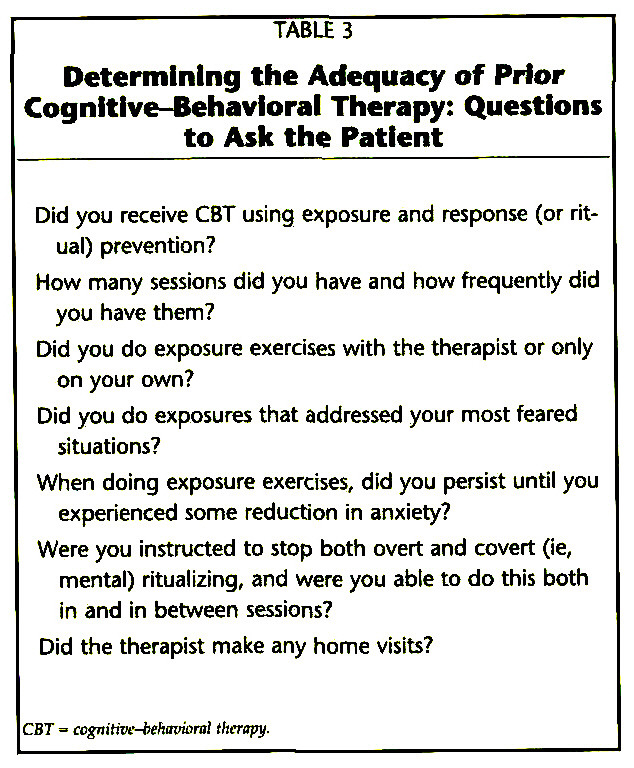 TABLE 3Determining the Adequacy of Prior Cognitive-Behavioral Therapy: Questions to Ask the Patient