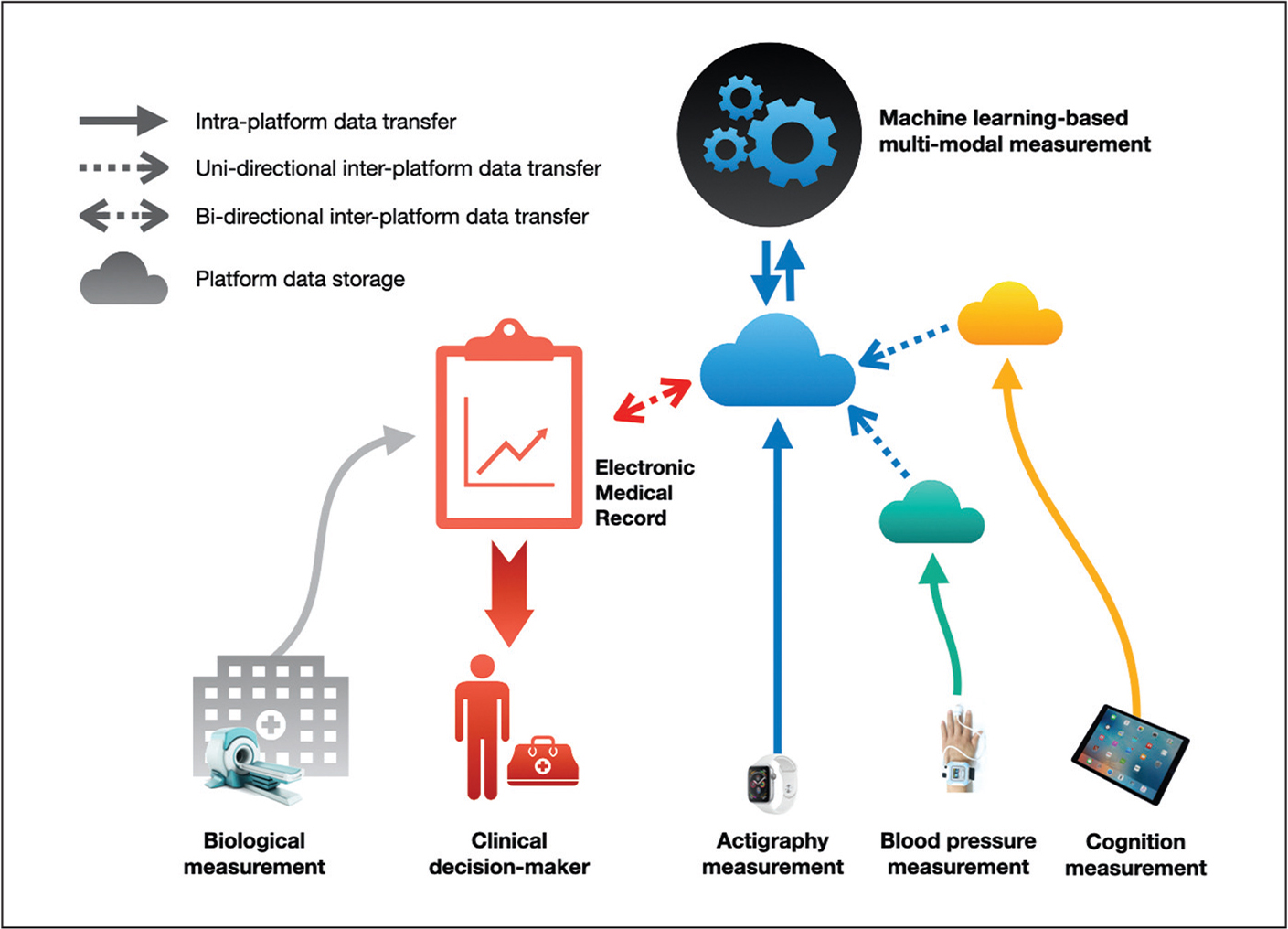 A technological infrastructure for the integration of digital measurement tools. Independent platforms for measurement of health (eg, actigraphy, blood pressure, cognition) will have their own data repositories, depicted as clouds. This data could be safely transferred across platforms using transfer tools such as secure APIs (application program interfaces), depicted using dashed arrows. Such tools could allow for both unidirectional and bidirectional movement of data. If a combination of measures can be accessible from a single data repository, it allows for the application of machine learning-based measurement of health, integrating all the independent measures in its prediction. The results from this calculation can be integrated into the patient's electronic health record, which can be used for clinical decision-making.