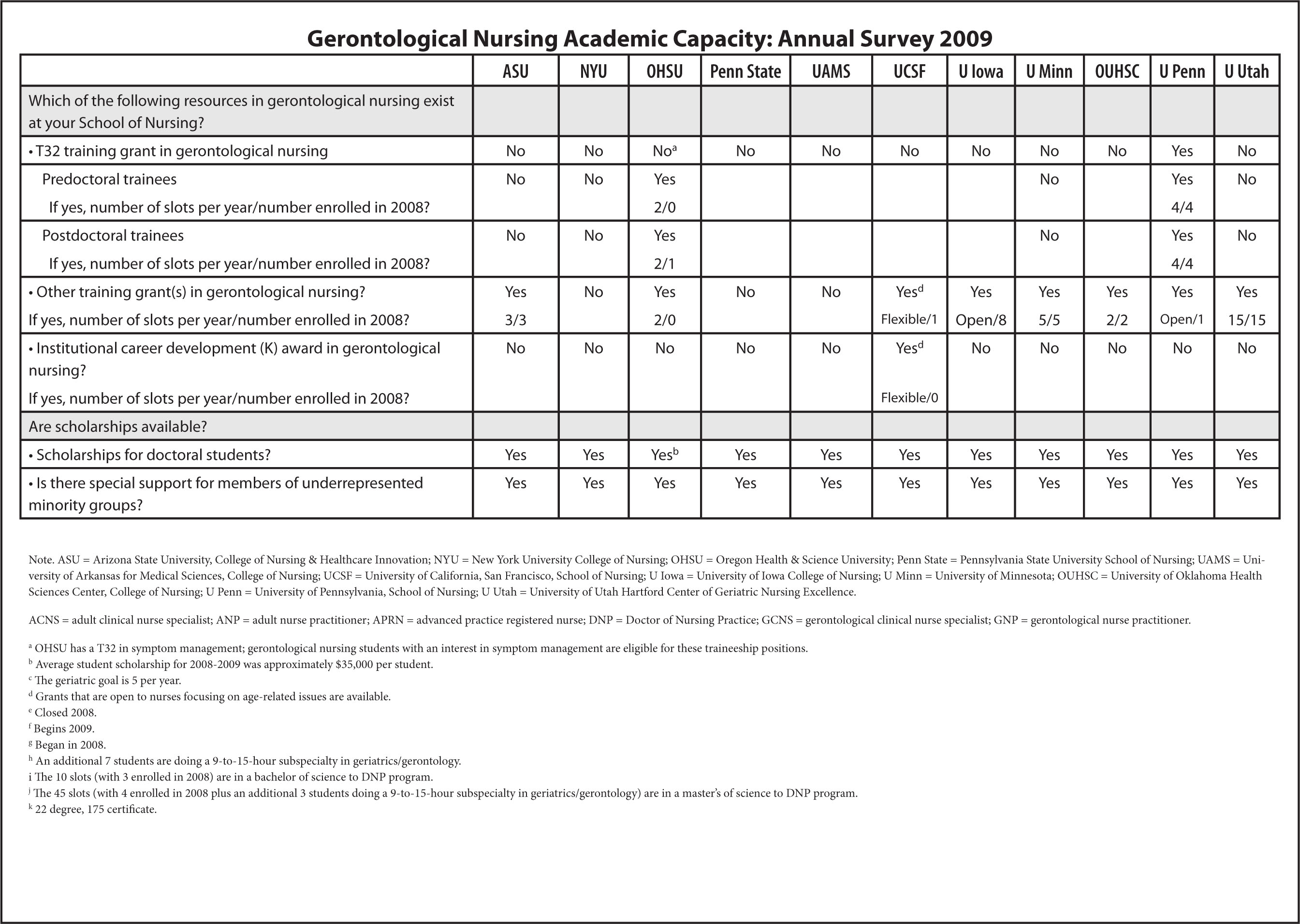 Gerontological Nursing Academic Capacity: Annual Survey 2009