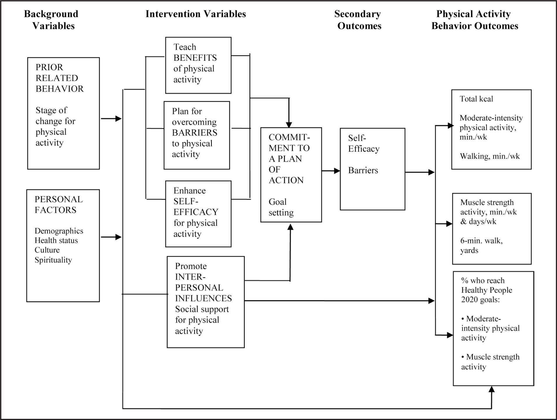 Physical Activity with Spiritual Strategies (PASS) intervention based on the Health Promotion Model (adapted).Note. min. = minutes; wk = week.