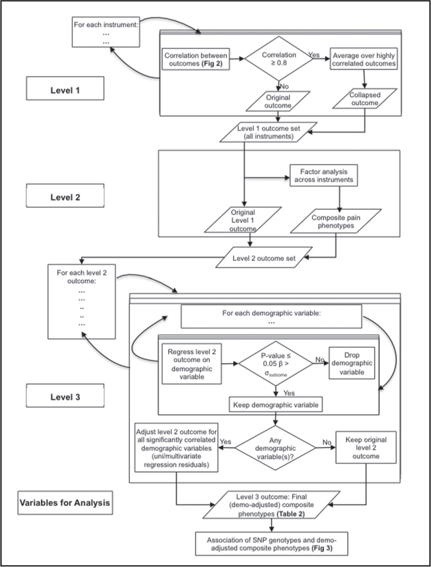 Flowchart for derivation of baseline osteoarthritis (OA) pain phenotypes.Note. SNP = single nucleotide polymorphism.